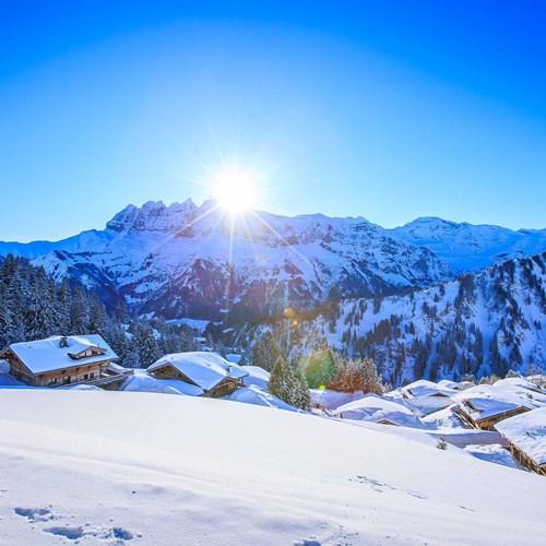 morzine avoriaz snowy sunrise