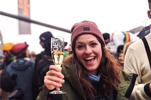 drinking moet on the ski slopes, Austria