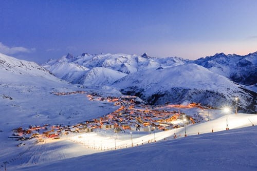 Alpe d'Huez Town and slopes at night