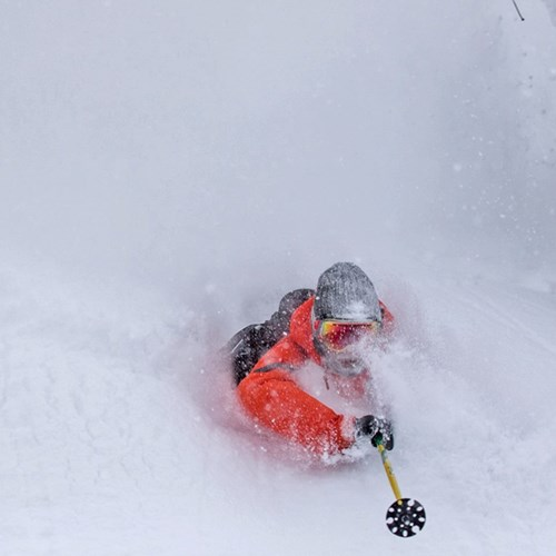 huge snowfall in Niseko, skiing