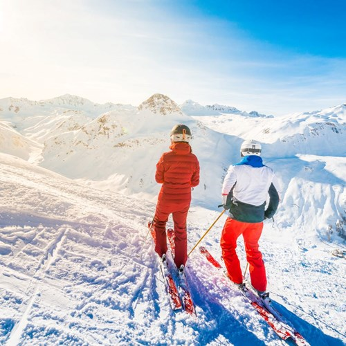snowy skiing in Val d'Isere