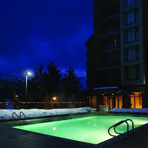Hilton-Whistler-Resort-and-Spa-outdoor-pool-at-night