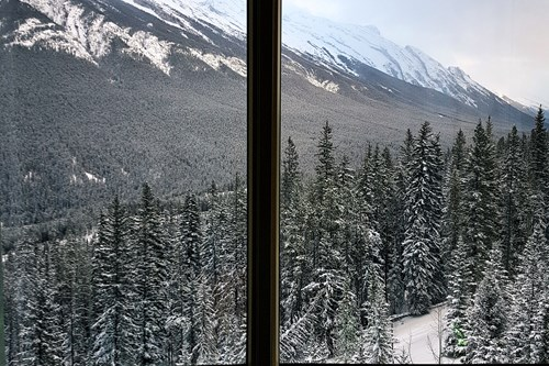 Banff through a window
