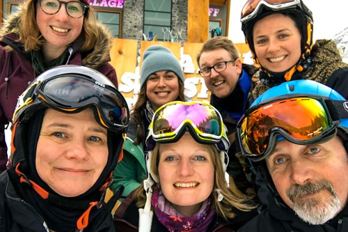 ski group in Banff, Alberta