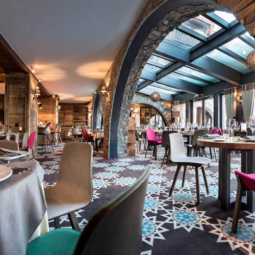 Hotel Village Montana-Tignes-vaulted dining room