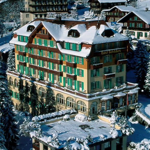 Hotel Belvedere Wengen, Switzerland - Hotel exterior in snow