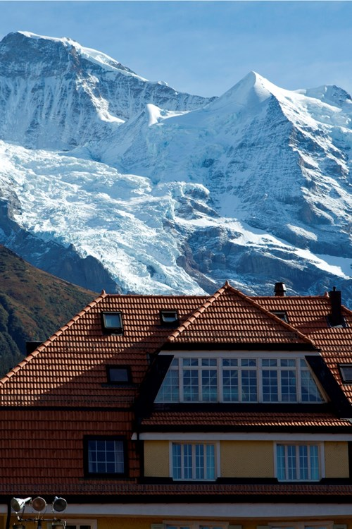 mountain tops over the Hotel Silberhorn Wengen, Switzerland