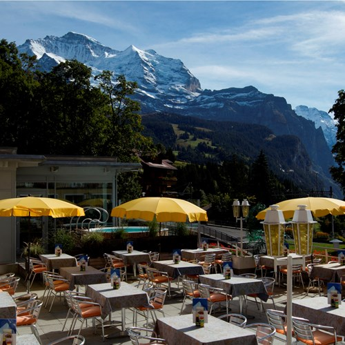 sun terrace of the Hotel Silberhorn Wengen, Switzerland