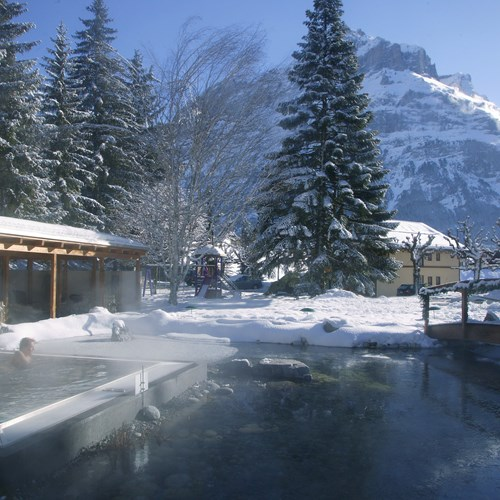 Hotel Belvedere-ski accommodation in Grindelwald-outdoor saltwater hot tub