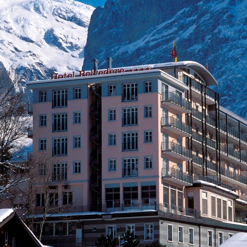 Hotel Belvedere-ski hotel in Grindelwald-hotel exterior and mountains