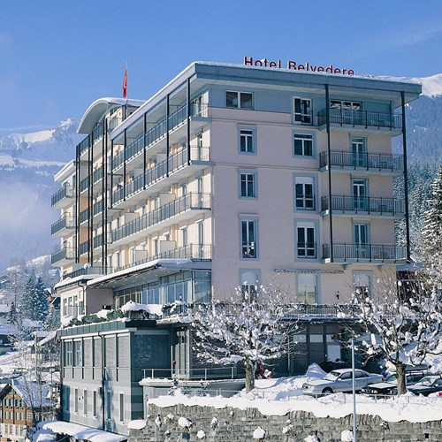 Hotel Belvedere-ski hotel in Grindelwald-hotel exterior and mountain view