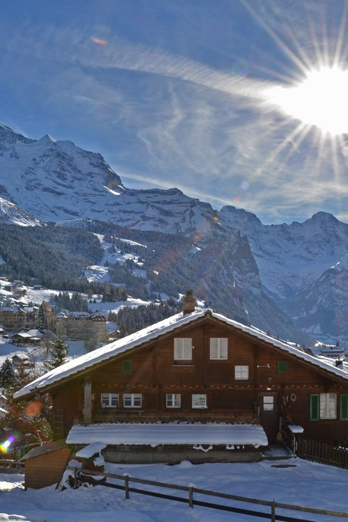 Wengen ski resort - sun shining over the resort