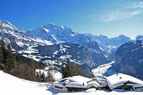 Wengen ski village halfway up the mountain near Zurich