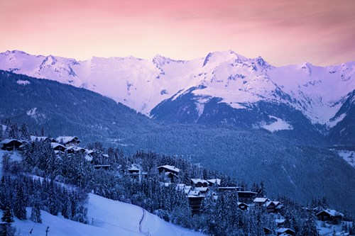 courchevel valley view during sunset