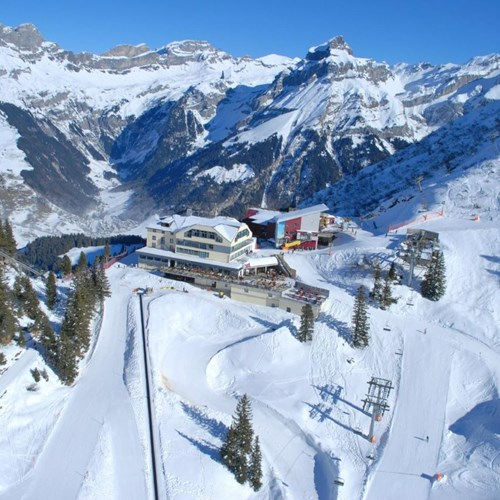 Trubsee Alpine Lodge-Engelberg ski resort-aerial view of exterior