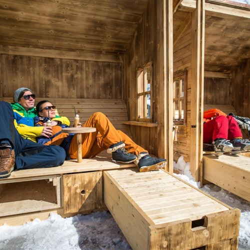 Trubsee Alpine Lodge-Engelberg ski resort-outdoor apres shelters