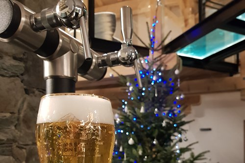 Beer on tap at the chalet des cascades, les arcs